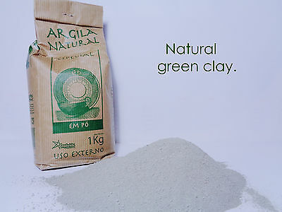 Pure Organic French Green Clay Powder 35.3oz 1Kg gift face skin mask acne oily