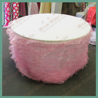 Table Skirt Ruffles Organza For 60 inches Round Table With Velcro Pink