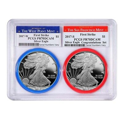 PRESALE - 2017 W/S 1 oz Proof Silver American Eagle 2-Coin Set PCGS PF 70 DCAM F