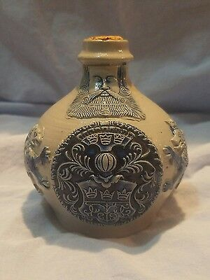 Antique 1850 Kvrkolner Bellarmine Jug Cobalt Blue Stoneware Beardman Face Flagon