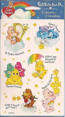 2002 TCFC Care Bears Character Stickers - 2 Sheets - NIP Sealed