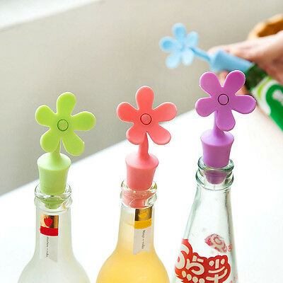 Silicone Flower Wine Beer Cover Bottle Stopper Cap Beverage Kitchen Bar Tools