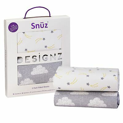 Snuz Baby Nursery Sleeping SnuzPod Crib Fitted Sheet - Twin Pack - Cloud Nine