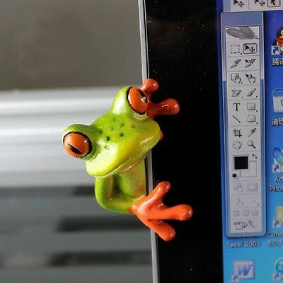 Resin Animals 3D Crafts Frog Figurines Office Desk Computer Decoration Style 2#