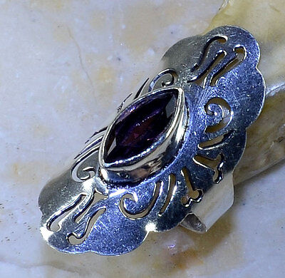 Beautiful Genuine Flawless Amethyst Antique Medieval Design 925 Silver Ring 73/4