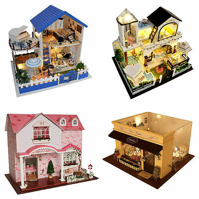 Wooden Dollhouse Miniature DIY Doll House Kit Handmade Villa Home Decor Gift