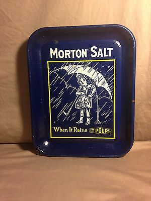 Vtg Morton Salt - The Story of the Umbrella Girl - Decorative Tray Advertising