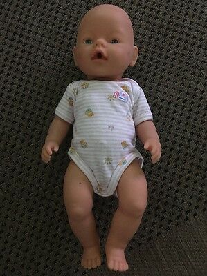 Baby Born Doll With Blue Eyes In Original Jumpsuit Outfit