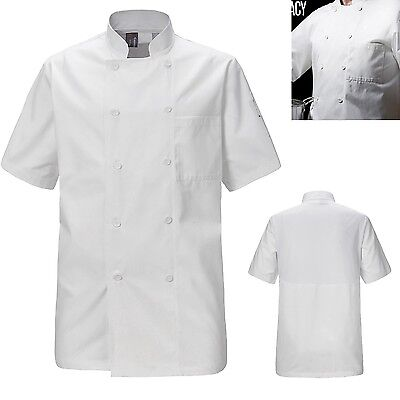 Unisex Chef Coat Jackets White Short Half Sleeve Clothing Chefwear Pen Pockets