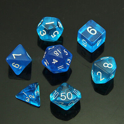 Set of 10 D12 12-Sided 18mm Opaque RPG Dice - Blue with White Numbers