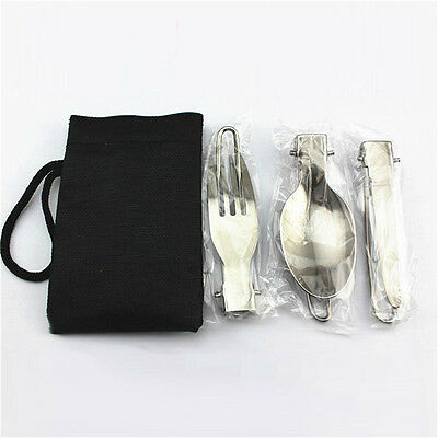 1set Stainless Steel Camping Picnic Folding Cutlery Set Knife Fork Spoon+Bag