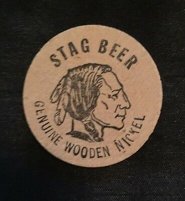 Vintage Genuine STAG BEER Wooden Nickel Token 1.5""