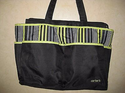 Large Carter's Baby Diaper Bag Tote - front & side pockets- Zip Close