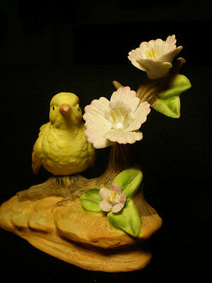 Bird on Branch with Flowers Figurine #30
