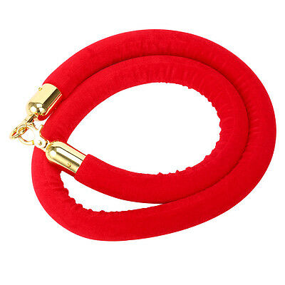 59 Inch Velvet Rope Crowd Control Stanchion Post Queue Line Barrier-RED COLOR