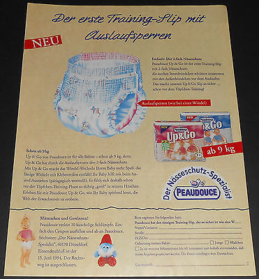 1994 vintage ad page - PEAUDOUCE UP & GO DIAPERS - GERMANY 1-PAGE PRINT ADVERT