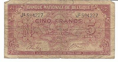 1943 Belgium Banknote, 5 Francs, Circulated WWII