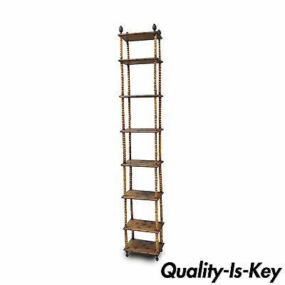 "87"" Tall Victorian English Charred Bamboo Stand Etagere Bookcase Narrow Shelf"