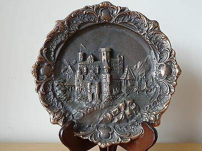 c.19th - Antique German Germany Copper Iron Wall Plate Plaque 3D