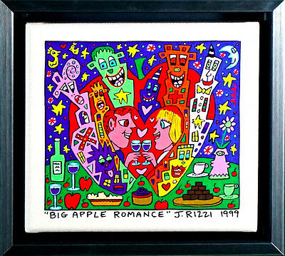 "Original James Rizzi  Leinwand ""Big apple Romance ""NEU Zertifikat GERAHMT"