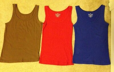 Women's Lot Of 3 Tank Tops, Red, Blue, Brown, Size M