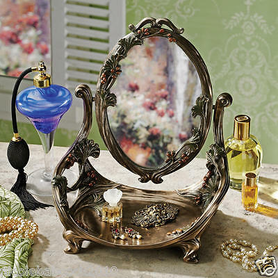 Art Nouveau French Ornate Vanity Table Mirror with Sculptural Accented Rest