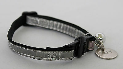 Gloss Reflective Cat Collar With Engraved Id Tag, Bell And 20Mm Nickel Id Tag