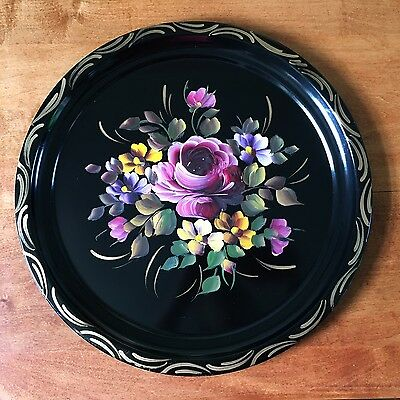 Vintage Toleware Hand Painted Metal Serving Tray Art Black Tole Flowers Floral