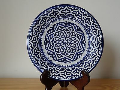 Vintage Persian Middle Eastern Pottery Ceramic Blue and White Wall Plate