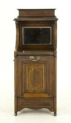 B578 Antique Scottish Mahogany Inlaid Mirror Back Coal Box, Purdonium