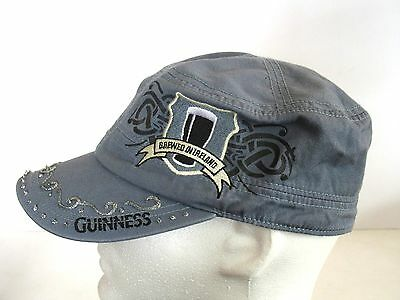"Guiness bear ""Brewed in Ireland"" Blue Denim Cadet Cap with Silver Accents"