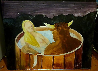 Contemporary Study Oil on Board Minotaure & Virgin in Tub Signed