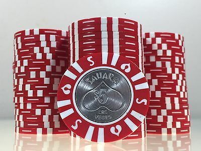 Beautiful Rare Sahara $5 Casino Poker Chip Metal Insert Las Vegas, Nevada