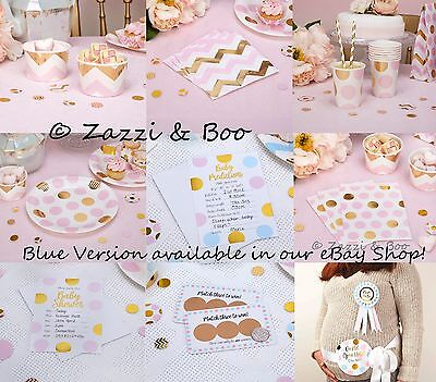 PINK GOLD Baby Shower Girls Party Decorations Tableware Birthday Christening
