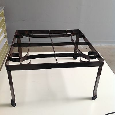 """SPI Cast Iron Metal Square Plant Stand Matching Pair 12-1/2"""" x 7"""""""