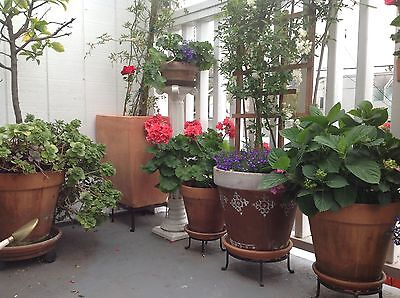 """Square metal cast iron plant stand 7-3/4"""" x 4"""" - Pair"""