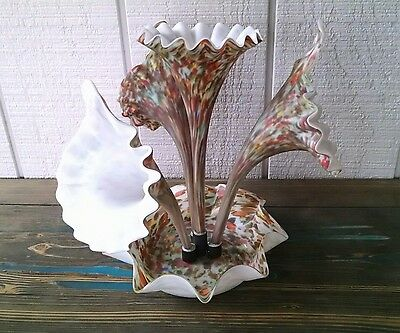 Vintage 4 Horn End Of Day Jack In The Pulpit Art Glass Epergne