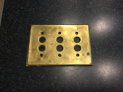 Antique 3 Gang Solid Brass Wall Plate For Push Button Switches