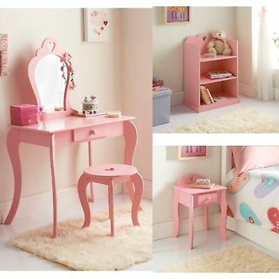 Cute Girls Room Amelia Dressing Table, Bookcase & Matching Bedside Cabinet PINK