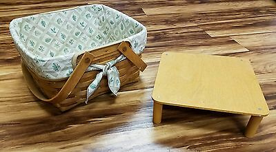 Large Longaberger Basket With Cake/pie/muffin Table Tote Made In USA By Hand