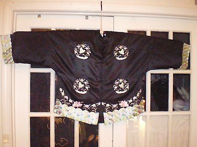Beautiful Chinese Black Silk Jacket/Robe w/Embroidered Water/Butterflies/Flower