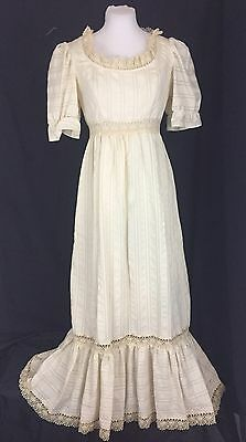 True Vintage 1970's Maxi Peasant Festival Dress. Lace Inserts. Small. Excellent