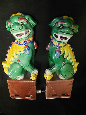 vintage Chinese Porcelain Enamel Pair of Temple Foo Dogs/Lions,,marked signed