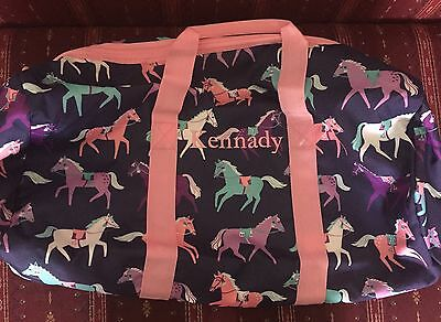 NEW POTTERY BARN Kids Navy HORSE Large DUFFLE BAG Gym Dance KENNADY