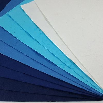 10 Sheets Blue tone Thick Mulberry Paper Handmade Card DIY Invitations Scrapbook