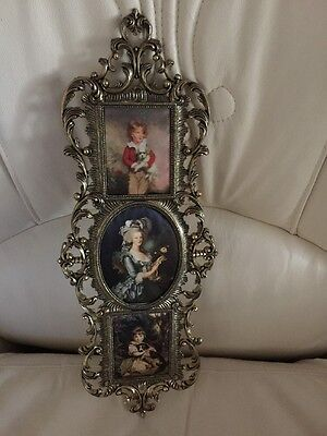 Vintage Brass Frame With Silk Pictures