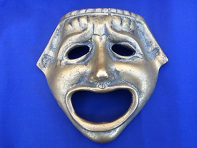 """VTG Brass Tragedy Face Mask Greek Theater Drama Ancient Replica Hanging 6.5"""""""