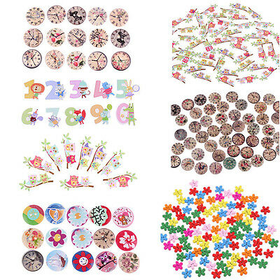 50/100pcs Sewing Wooden Buttons Heart Flower Decor Sewing Buttons DIY Crafts New