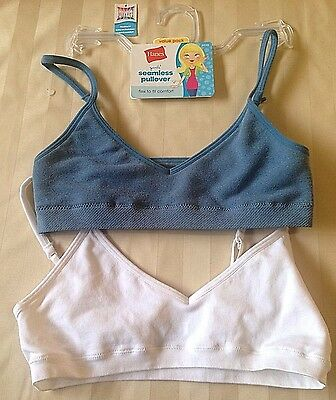 HANES Girls M 2 Pack White Blue Seamless Pullover Cotton Spandex Training Bra