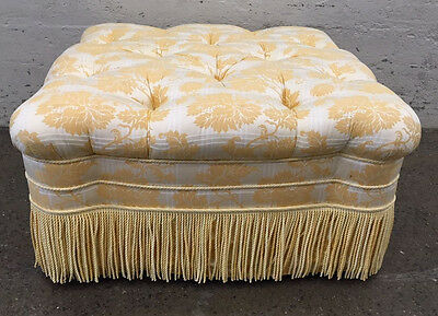 Hollywood Regency Style Tufted Ottoman Bench Mid Century Modern